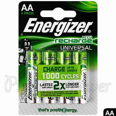 Energizer Universal AA 1300 mAh Rechargeable Batteries Blister Packs of 4 accus HR6 Pack of 4