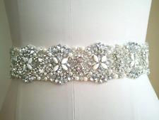 Crystal beaded bridal sash Pearls And Crystal Sash. Color White Ribbon