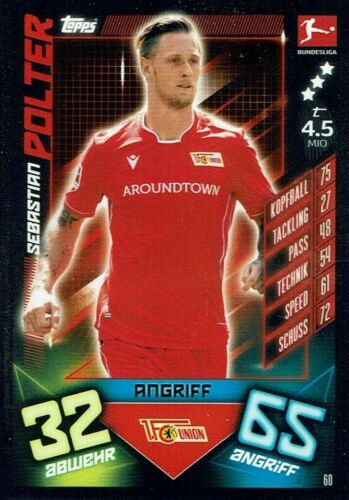 Match Attax 19//20 Bundesliga  2019//2020 Basiskarte Karte Nr 60 Sebastian Polter