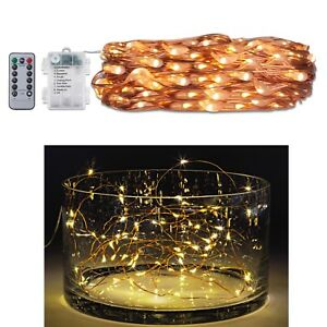 Fairy-String-Lights-60-Waterproof-LED-with-Remote-Timer-Party-Decoration-Warm-W