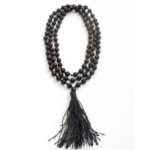 6mm Negro Ágata Redondo Piedras Preciosas Tíbet Beads Mala Collar De Oración Budista 108