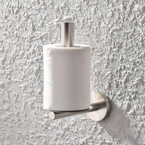 Support Mural en Acier Inoxydable Finition Brossée Bain Support Toilette Papier Tissu Support