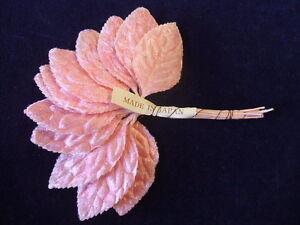 Vintage-Millinery-Flower-1Dozen-Velvet-Leaf-Pink-2-034-G