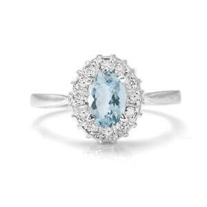 925-Sterling-Silver-Ring-Natural-Blue-Aquamarine-Halo-Gemstone-Size-4-11