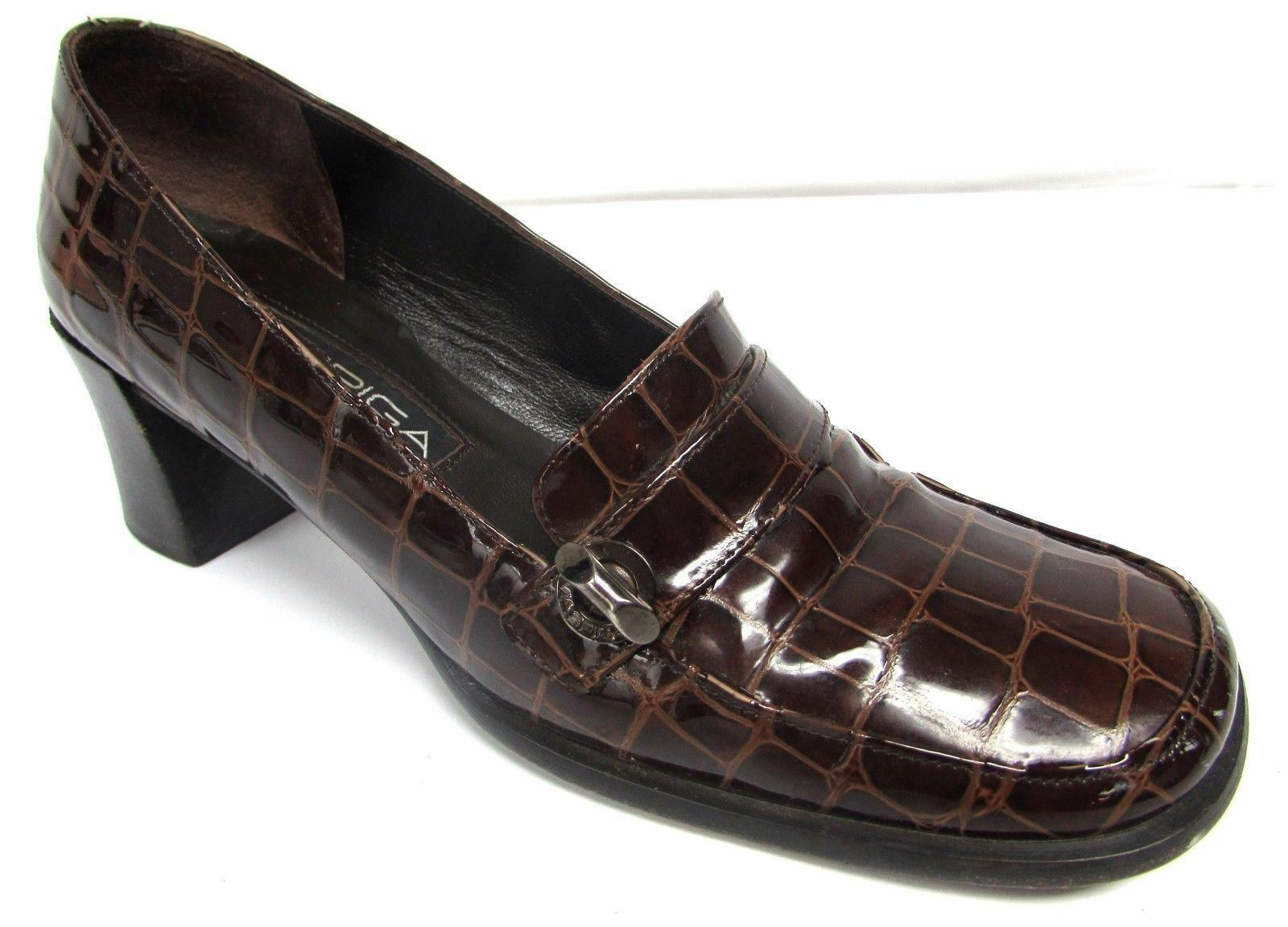 Via Spiga women's 7 M brown leather clogs loafers shoes medium heel