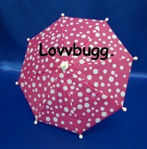 Pink Dots Umbrella for American Girl and Wellie Wisher Doll Accessory TRU US SLR