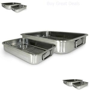 New 4 Piece All In 1 Lasagna Amp Roasting Pan Stainless