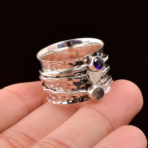 Details about  /Amethyst Spinner Ring 925 Sterling Silver Ring Women Handmade Jewelry 083