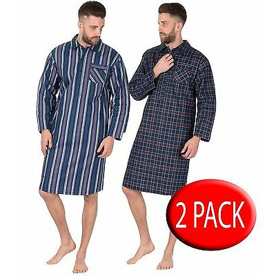 Mens Traditional Striped Nightshirt night shirt Brushed Flannel 2 pack