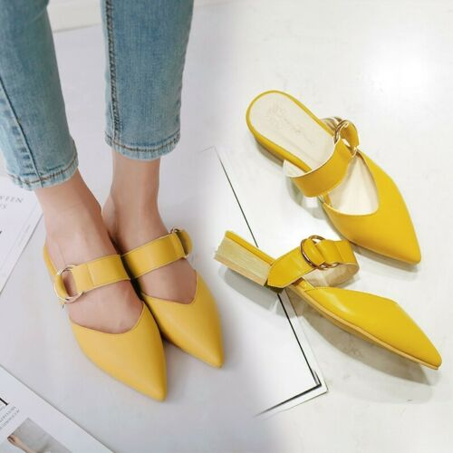 Women Mules Backless Casual Flat Heel Closed Pointy Toe Slipper Sandals US 4-13