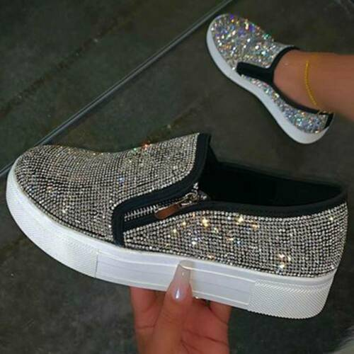 Details about  /Womens Shining Rhinestone Flat Loafers Shoes Zip Up Casual Shoes Spring Autumn
