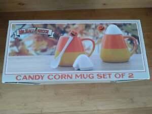 Mr. Halloween Candy Corn Ceramic Mug Set of 2 with Lids & Spoons - 18oz
