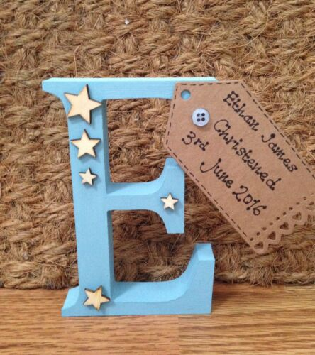 Personalised Birth New Baby Christening Gift Present Keepsake Wooden Letter