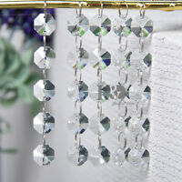 5 String Clear Crystal Chandelier Prisms 14MM Octagon Bead Garland Wedding Chain