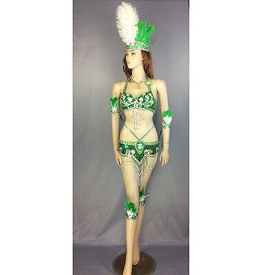 Samba Carnivel RIO Crystal Bra Costume Outfit Showgirl belly dance costume green