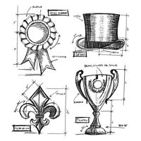 Stampers Anonymous CMS-193 Tim Holtz Cling Rubber Stamp Set 7 in. x 8.5 in.-High Society Blueprints Craft Supplies