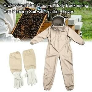 Professional Ventilated Full Body Beekeeping Bee Keeping Suit w// Leather Gloves