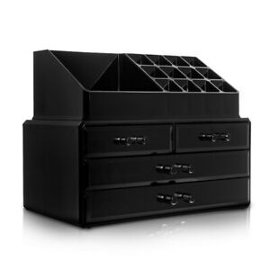 Black-Acrylic-Beauty-Cosmetic-Organiser-Makeup-Drawers-Tray-Display-Box-Case
