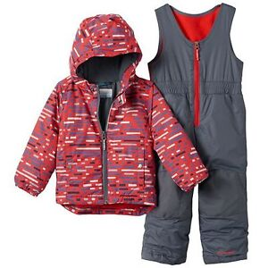 NWT COLUMBIA FROSTY SLOPE SNOW SET, BOYS BRIGHT RED PRINT SNOWSUIT 3T