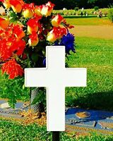 Solar Lighted Cross - Memorial Light For Grave Or Garden By Eternal Light