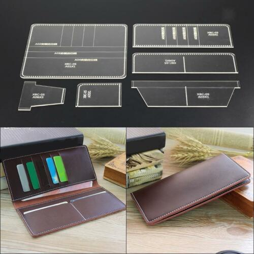 7Pcs Leather Craft DIY Acrylic Wallet Bag Mould Pattern Stencil Template Set
