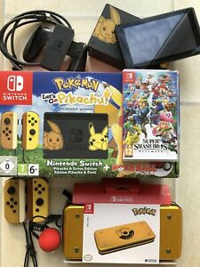 Nintendo-Switch-Console-Pokemon-Let-039-s-Go-Pikachu-Edition-Carry-Case-amp-Game-FAB