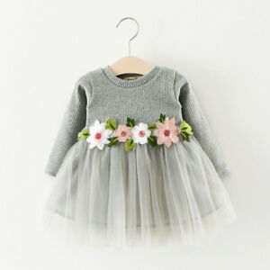 9db10daf7cb8 Knitted Baby Dress White Girl Long Sleeve Dresses Winter Christmas ...