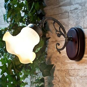 Rustikale wandleuchte wandlampe landhaus holz buntglas flur treppenaufgang ebay - Wandleuchte treppenaufgang ...