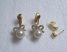 White Faux Pearl Diamante Bow Clip-on Earrings - Very Pretty