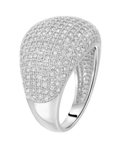 Details about  /Brilliant Cut CZ Rhodium Over 925 Sterling Silver Pave Cocktail Ring