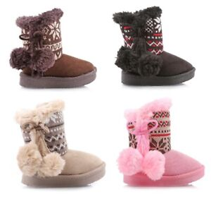 Cute-Side-Zipper-Pompoms-Faux-Fur-Toddlers-Kids-Girls-Boots-Shoes-Size-5-10