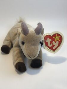 """Retired 1999 Ty Beanie Baby ~ Goatee  ~ NWT ~ 8"""" Goat With Hologram Tush Tag"""