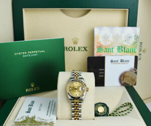 ROLEX REHAUT Ladies 18kt Gold & SS DateJust Champagne Diamond 179173 SANT BLANC