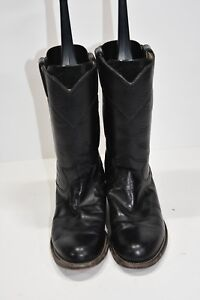 b583a2fba71 Details about JUSTIN L3703 WOMENS 6 B BLACK LEATHER ROUND TOE WESTERN  COWBOY BOOTS ROPERS
