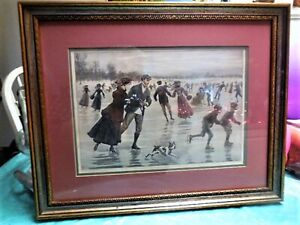 """Other Antique Decorative Arts Honey A.b Frost Framed Antique Original Illustration """"glory Of Winter's Day"""" 1904"""
