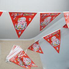 1 String Wimpel Fahnen Weihnachtsmann Muster Flagge Banner Frohe Weihnachten HOT