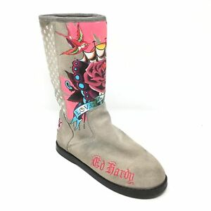 Women-039-s-Don-Hardy-Winter-Boots-Shoes-Size-5-Love-and-Roses-Gray-Pink-Suede-U14