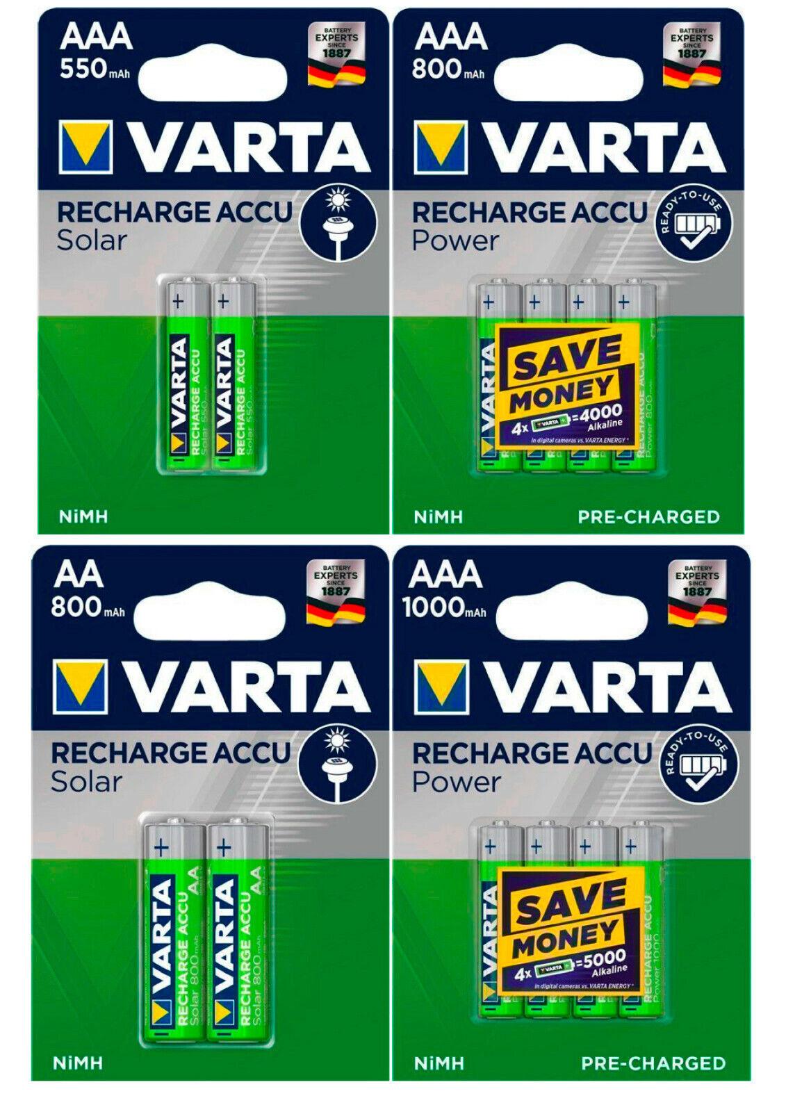 Varta Power Akkus AAA AA Micro Mignon 550mAh 800mAh 1000mAh für u.a. Telefon  | Speichern