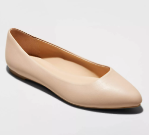 A New Day Womens Kora Microsuede Pointed Toe Ballet Flats Taupe Size 8