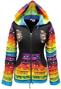 Women-Rainbow-Sleeved-Flower-Patch-Hoodie-Hippy-Light-Weight-Jacket
