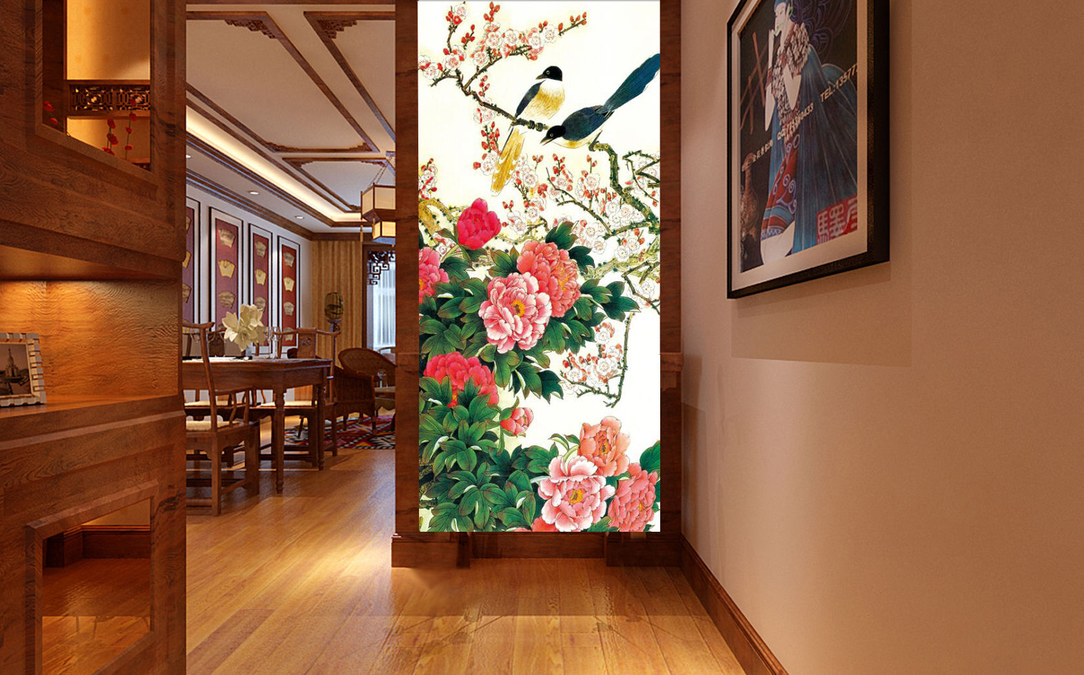 3D Bird flowers Retro Wall Paper wall Print Decal Wall Deco Indoor wall Mural