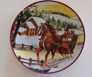 """Collectible Plate Christmas HORSE AND SLEIGH 8"""" Vintage"""