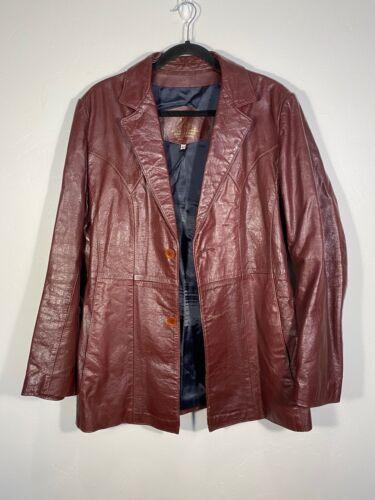 100% Leather Vintage Burgundy Red Blazer Jacket Co