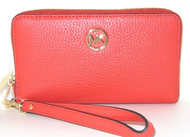 0330297acd32 Michael Kors Fulton Large Flat Phone Case Sienna Orange Leather Wallet NWT  $118