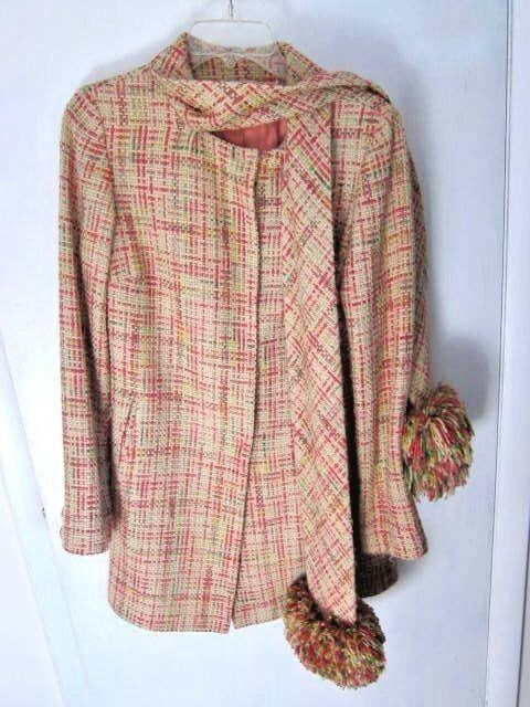 Anthropologie 2002 Elevenses Pom Pom Scarf Coat Tweed  Sz 6 l940's Inspired