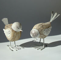 Shabby Chic Country Metal and Wood Birds Standing Ornament x 2 - New