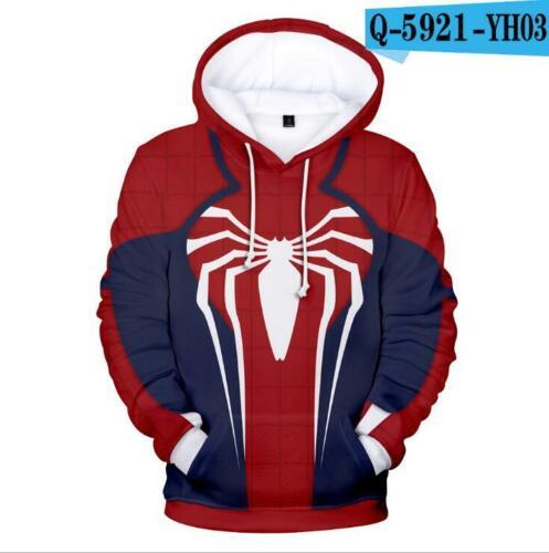 3D Cosplay Marvel Spider-Man Sweater Hoodie Fashion Costume zip Jacket Coat US