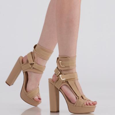 Liliana GLAMROCK Black White Multi Neoprene Strappy Platform Chunky Heel