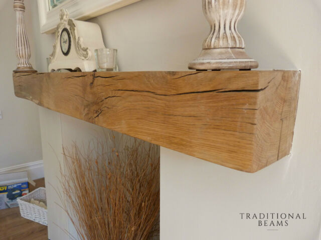 SOLID OAK BEAM FLOATING SHELF MANTLE AIR DRIED FIREPLACE
