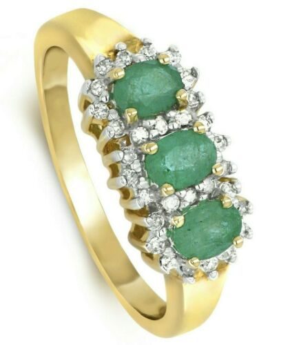 Emerald and Diamond Ring Three Stone Trilogy Yellow Gold Appraisal
